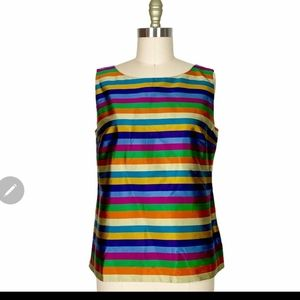 NWOT! Talbot SILK sleeve less shell Top Multicolor